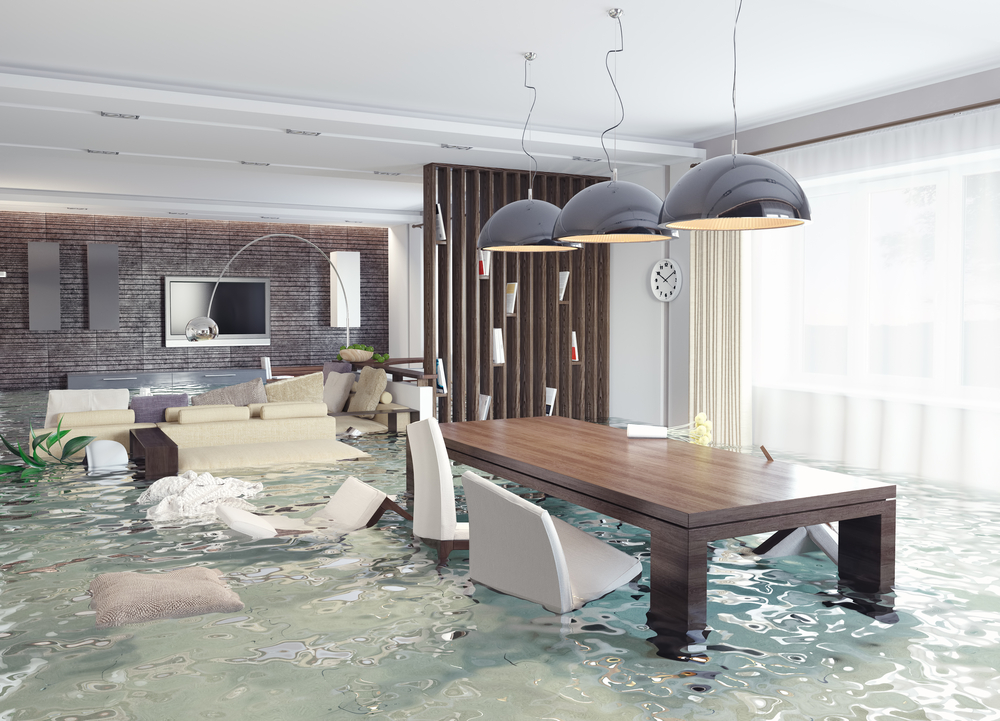 Living room Filled With water Due To Stormwater Drainage