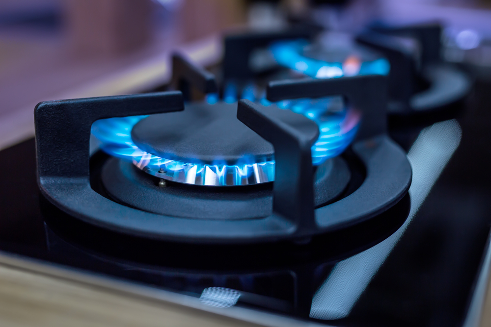 Multiple Gas Burner Switched On For Gas Plumbing